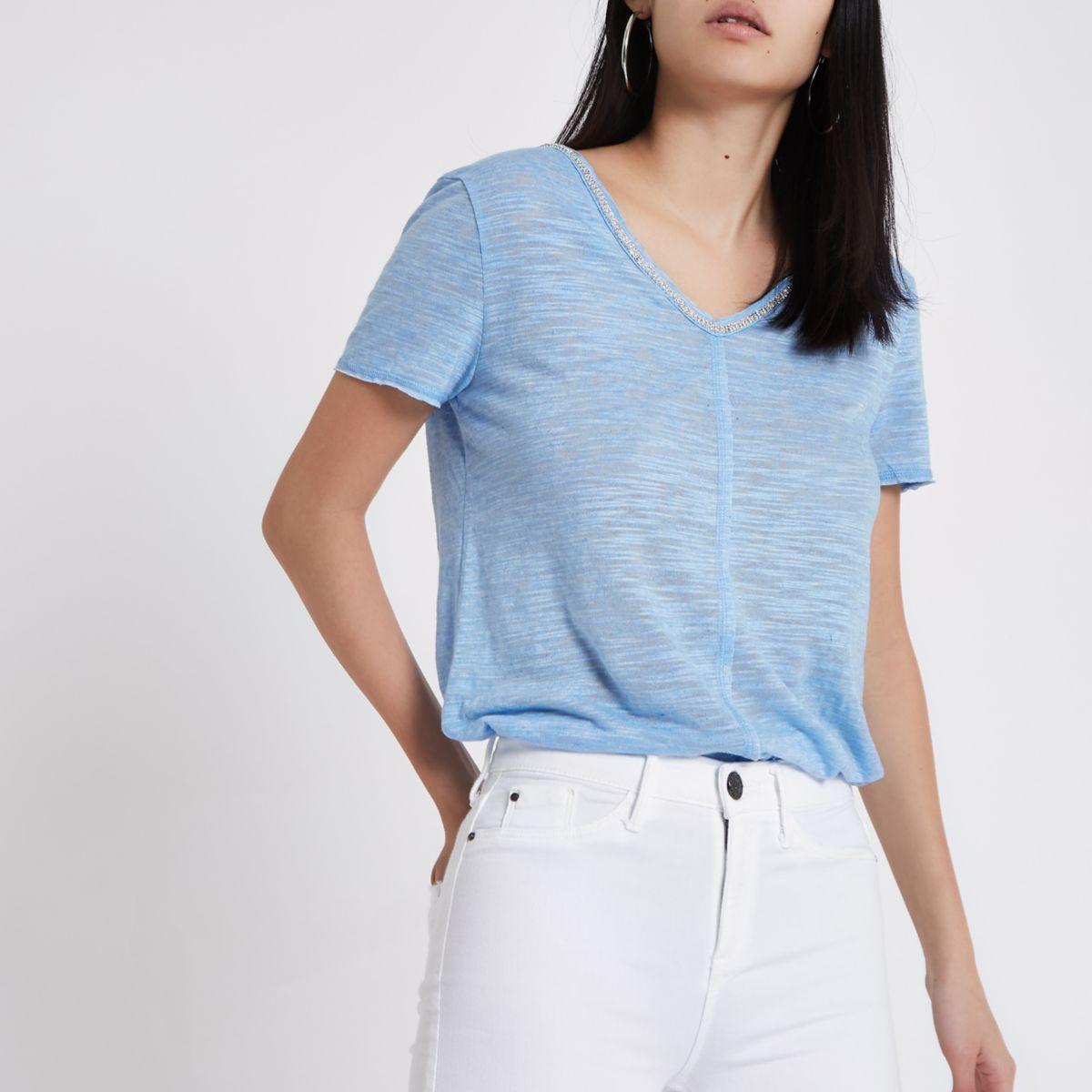 Blue rhinestone neck embellished T-shirt