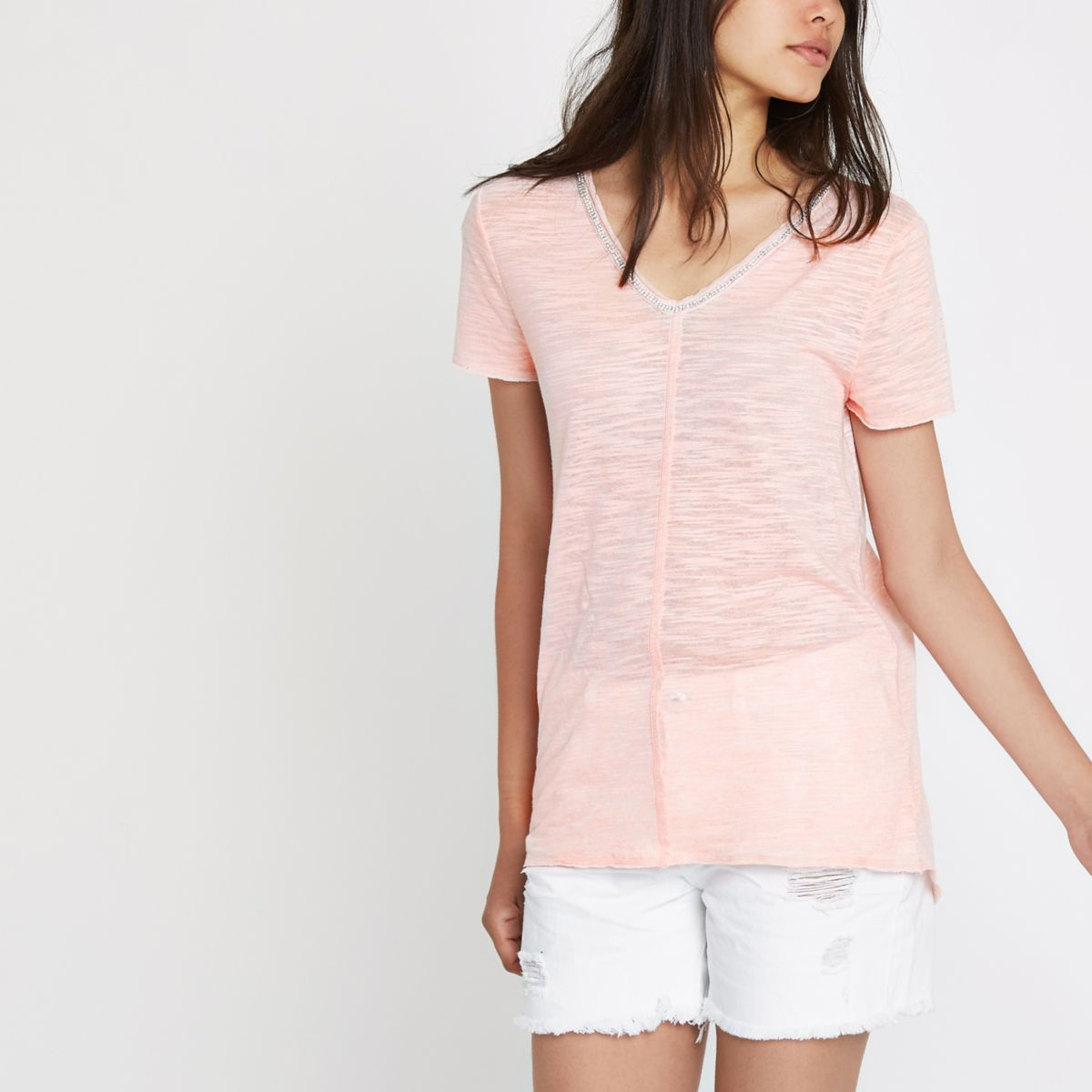Pink diamante neck embellished T-shirt
