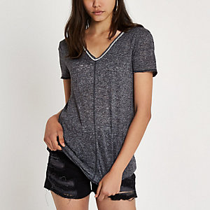 Grey short sleeve embellished slub T-shirt