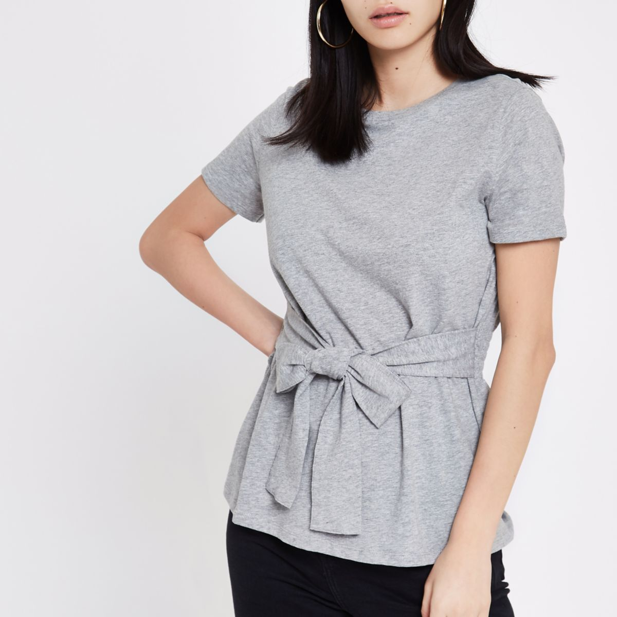 Grey Fitted Tie Front T Shirt                                  Grey Fitted Tie Front T Shirt by River Island