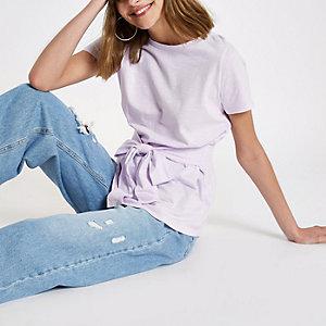 T-shirt ajusté violet clair noué devant