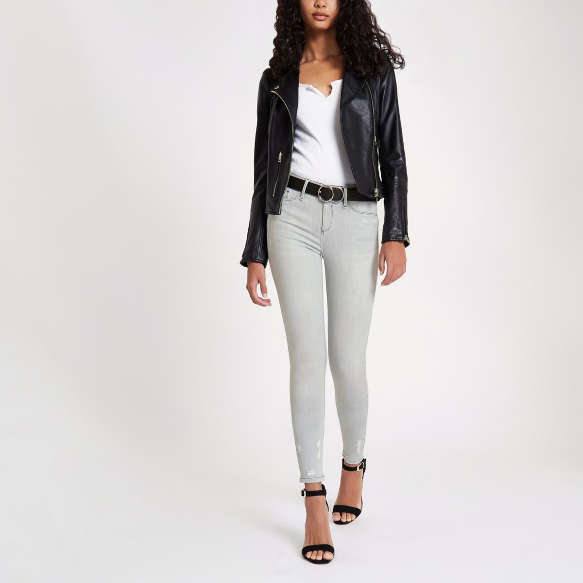 Light grey Molly distressed jeggings