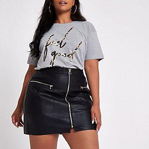 Plus black faux leather zip front mini skirt