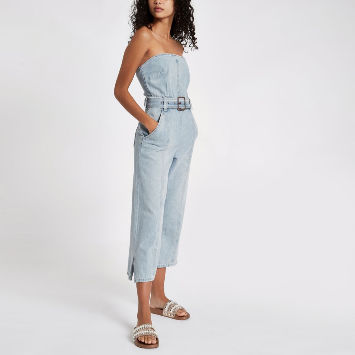 Light blue bandeau belted denim jumpsuit
