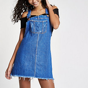 Bright blue frayed hem denim dungaree dress