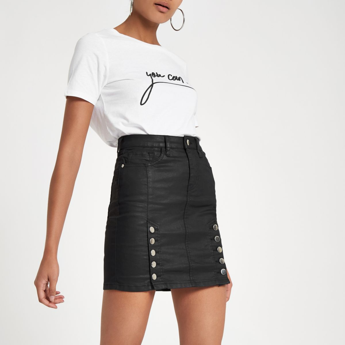 Black coated denim high rise mini skirt