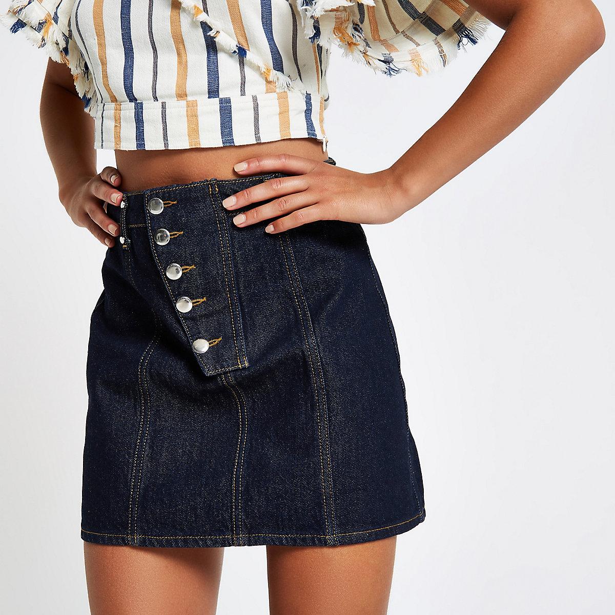 Dark blue raw denim A line mini skirt