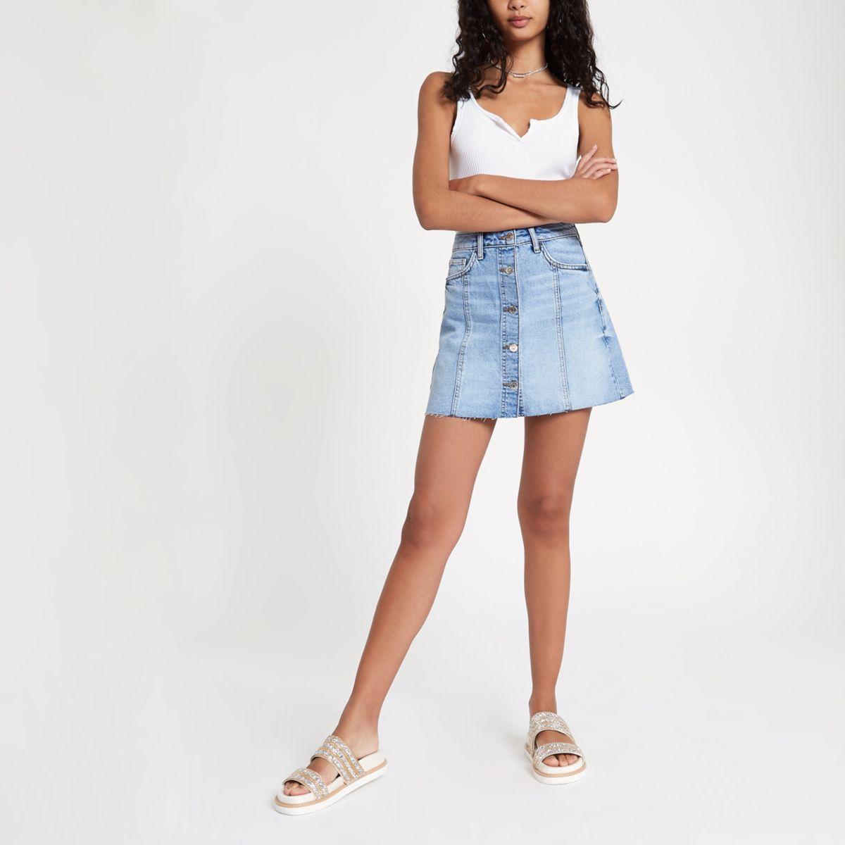 Light blue button through denim mini skirt
