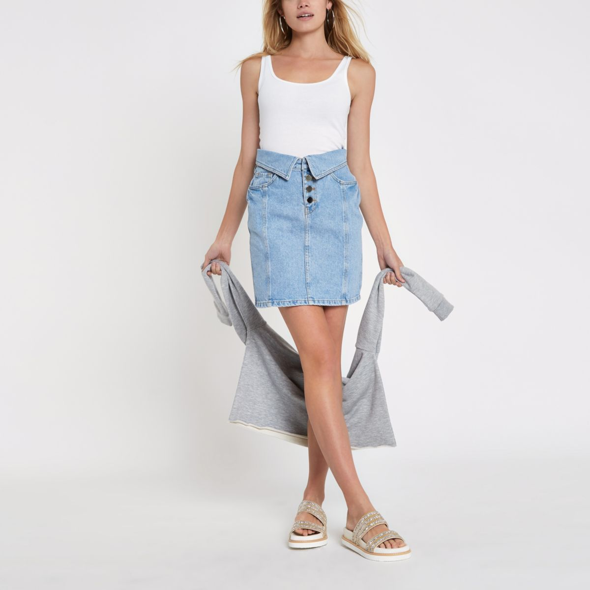 Blue denim high rise turn down mini skirt