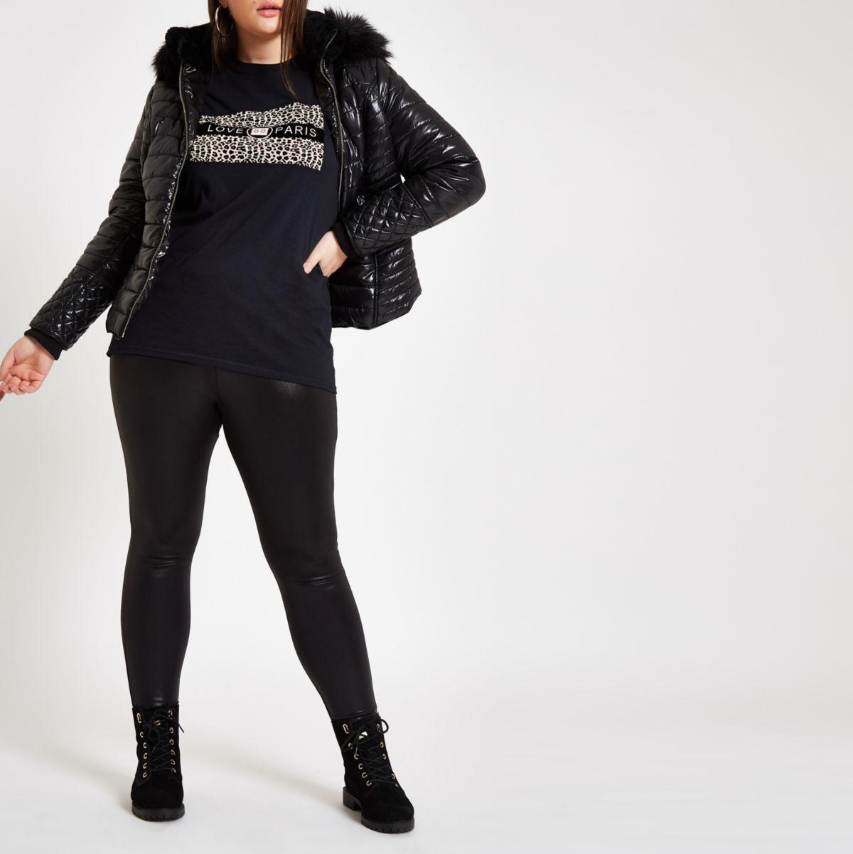 Plus back coated high waisted leggings