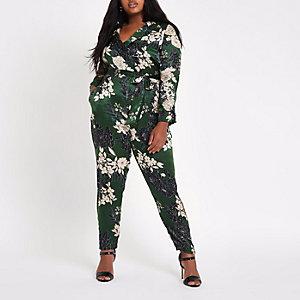 RI Plus - Groene jumpsuit met bloemenprint en strikceintuur