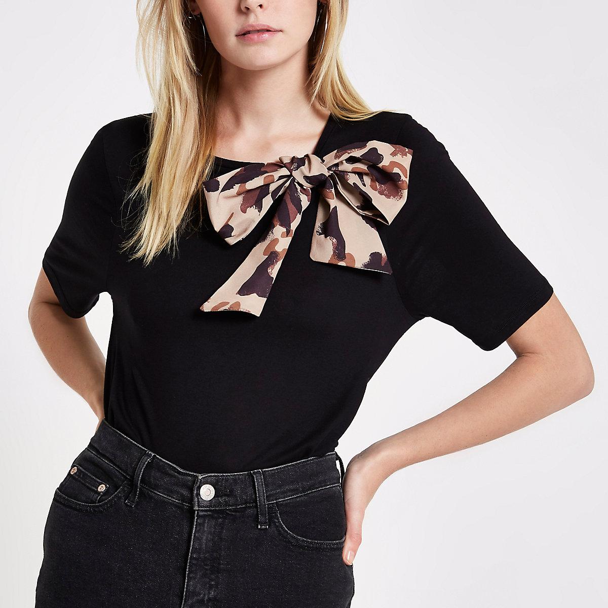 Zwart T-shirt met strik en luipaardprint