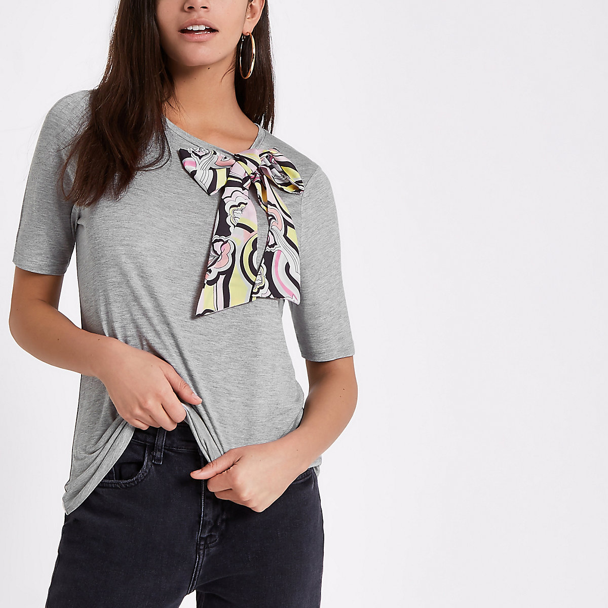 Grey scarf print bow detail T-shirt