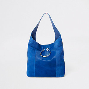 Blue leather slouch shoulder bag