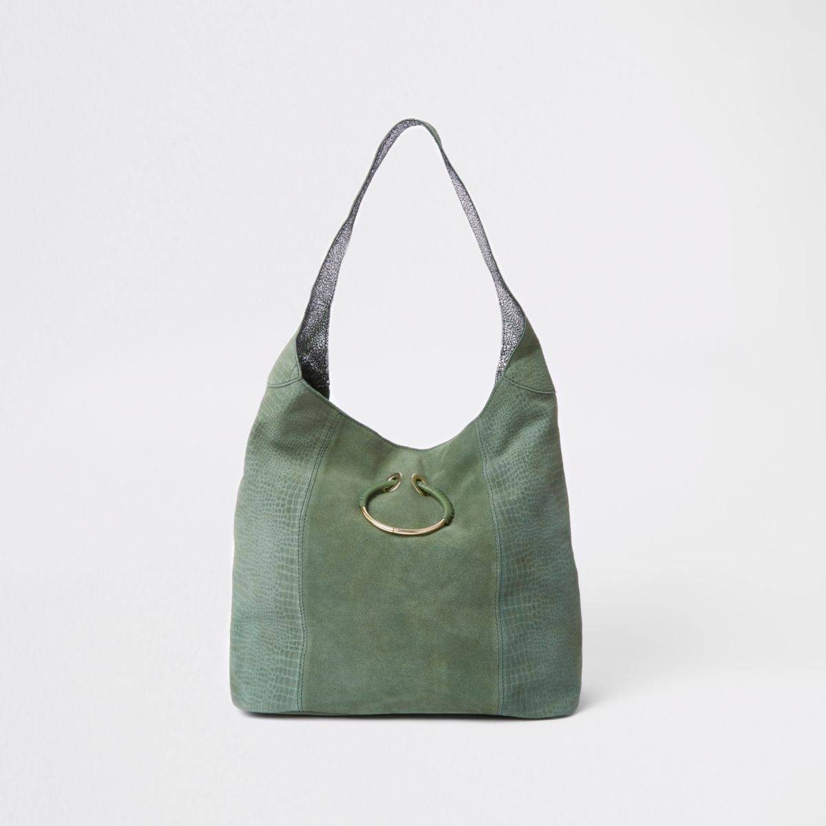Dark green leather metal ring slouch bag