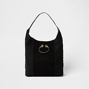 Black leather metal ring slouch bag