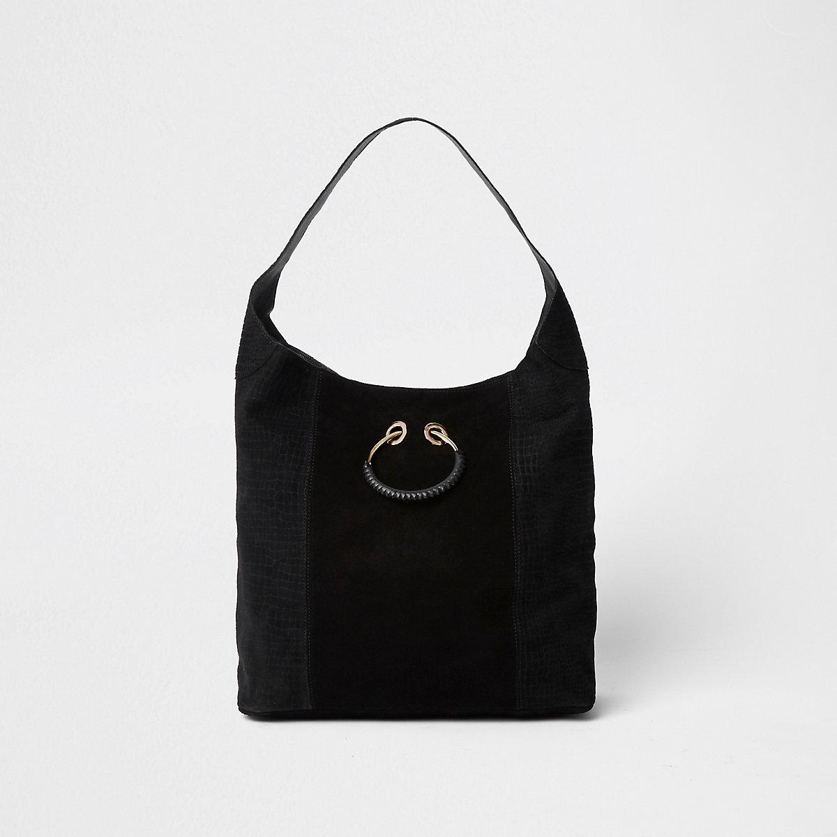544639563c Black leather metal ring slouch bag - Shoulder Bags - Bags   Purses - women