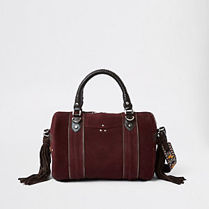 Dark red leather cross body duffle bag