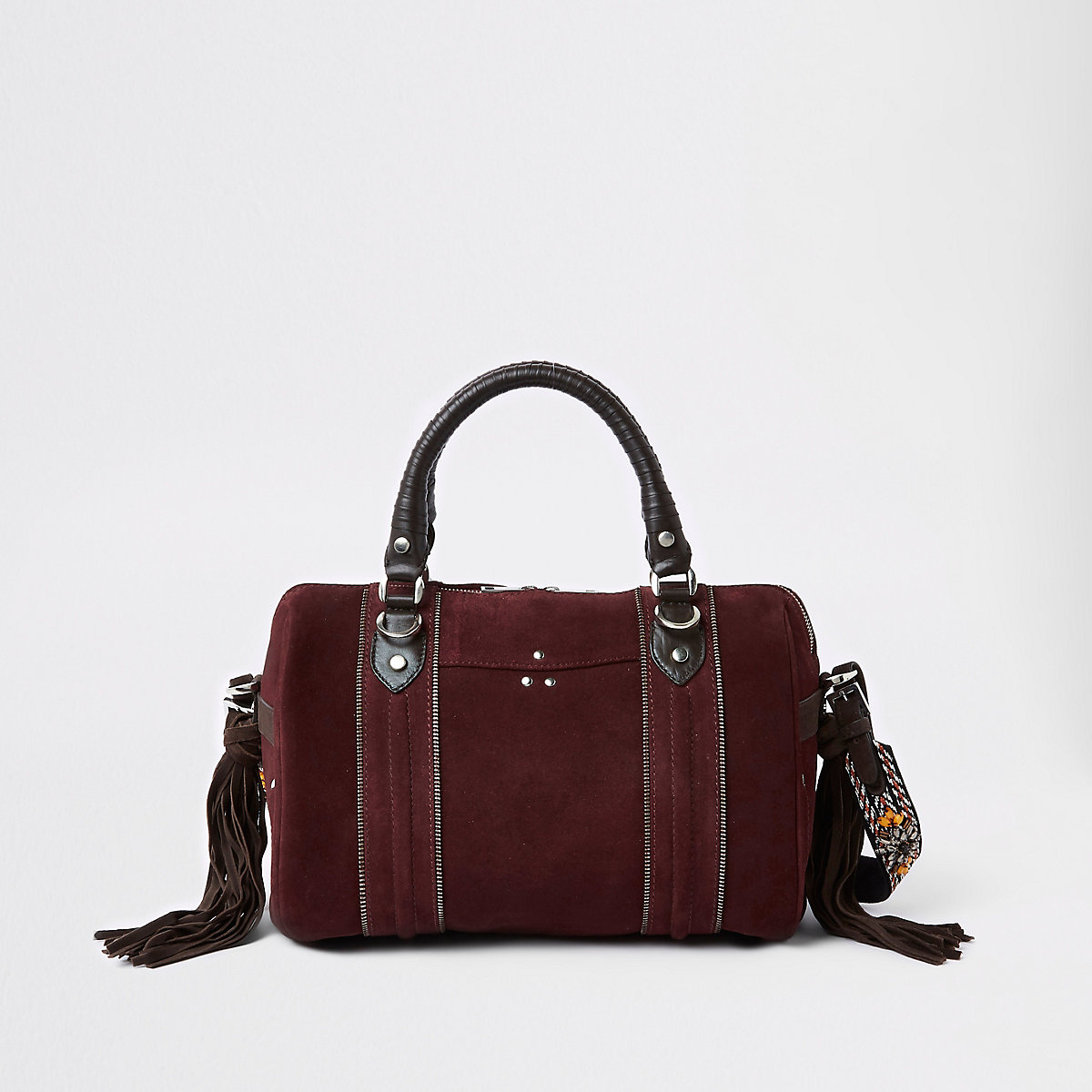 Dark red leather cross body bowler bag