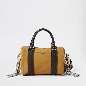 Beige leather cross body duffle bag