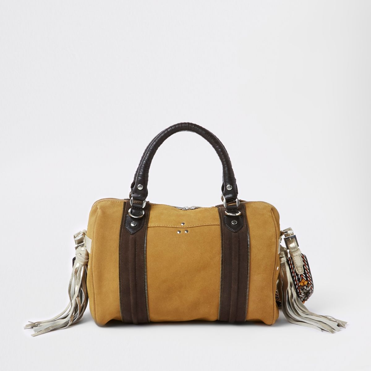Beige leather bowler cross body bag