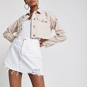 Rosa, kurze Jeansjacke im Used-Look