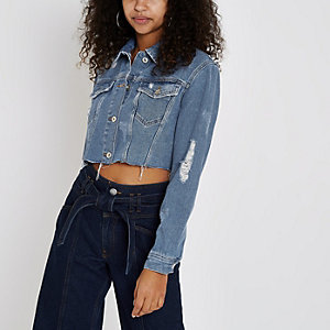 Mid blue authentic ripped denim jacket