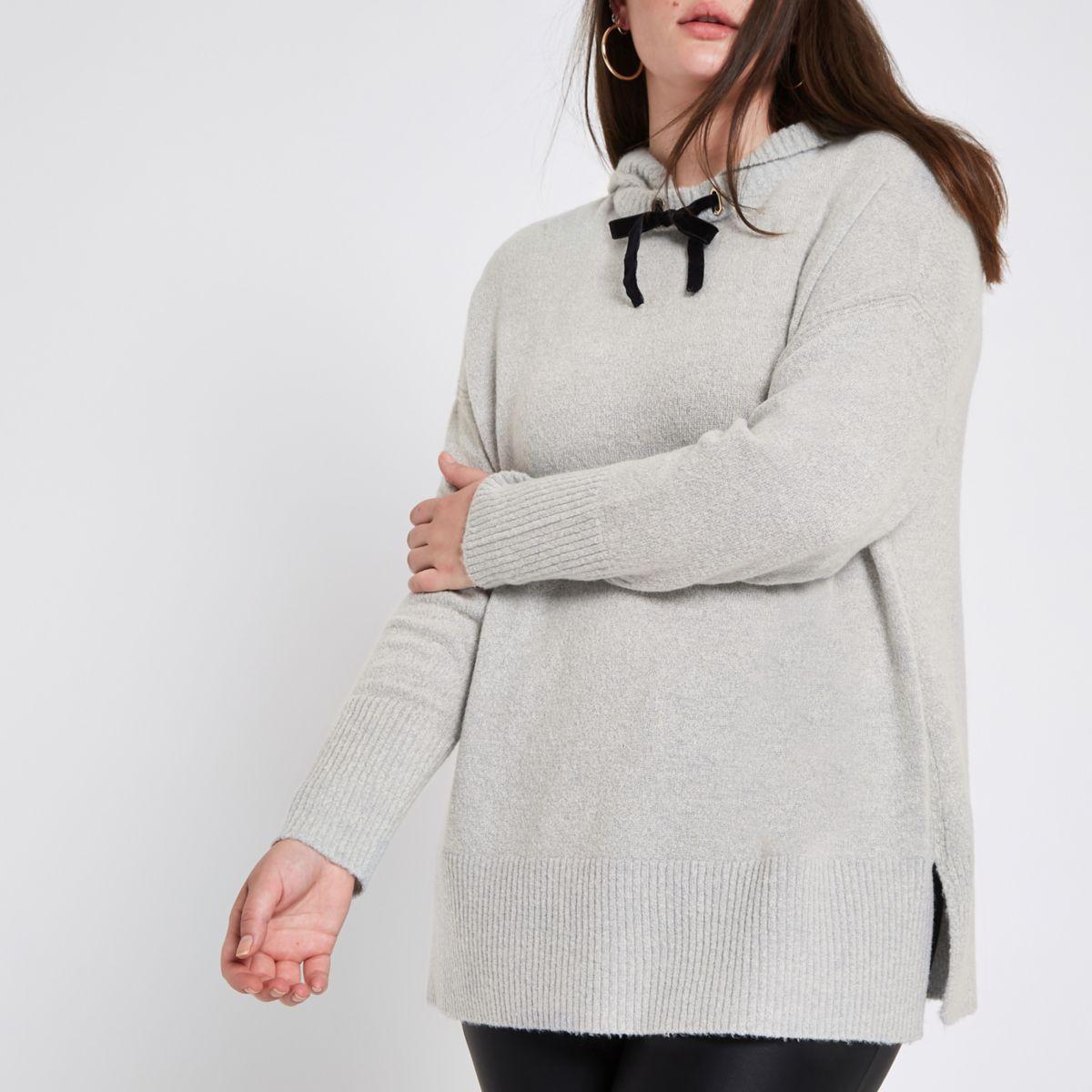 Plus grey knitted hoodie