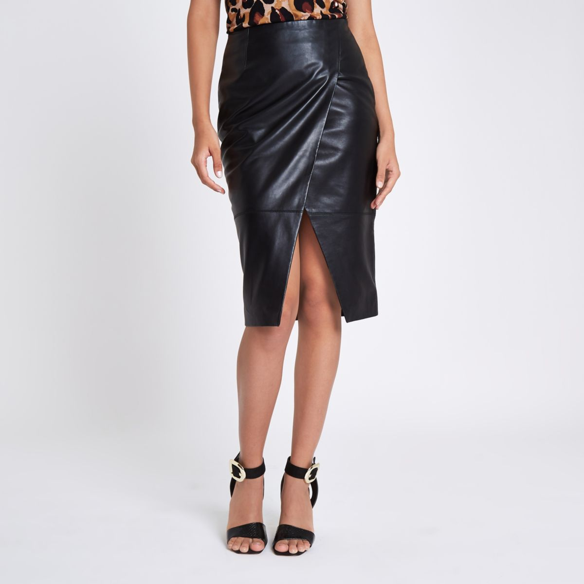 Black leather wrap pencil skirt