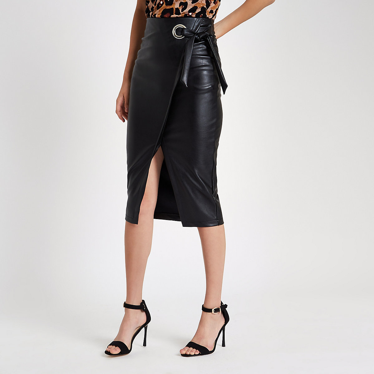 Black faux leather wrap tie-up pencil skirt