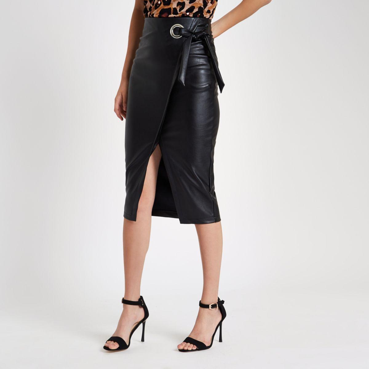 Black faux leather wrap tie-up pencil skirt