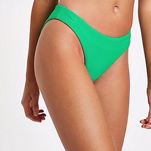 Bas de bikini échancré vert côtelé