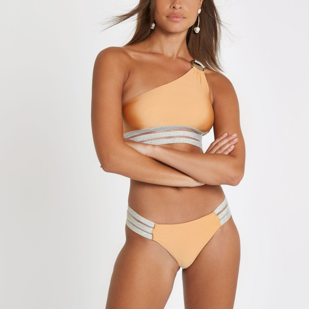 Gold elastic high leg bikini bottoms
