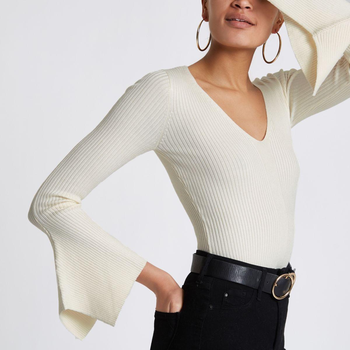 Cream knit rib flute sleeve V neck top