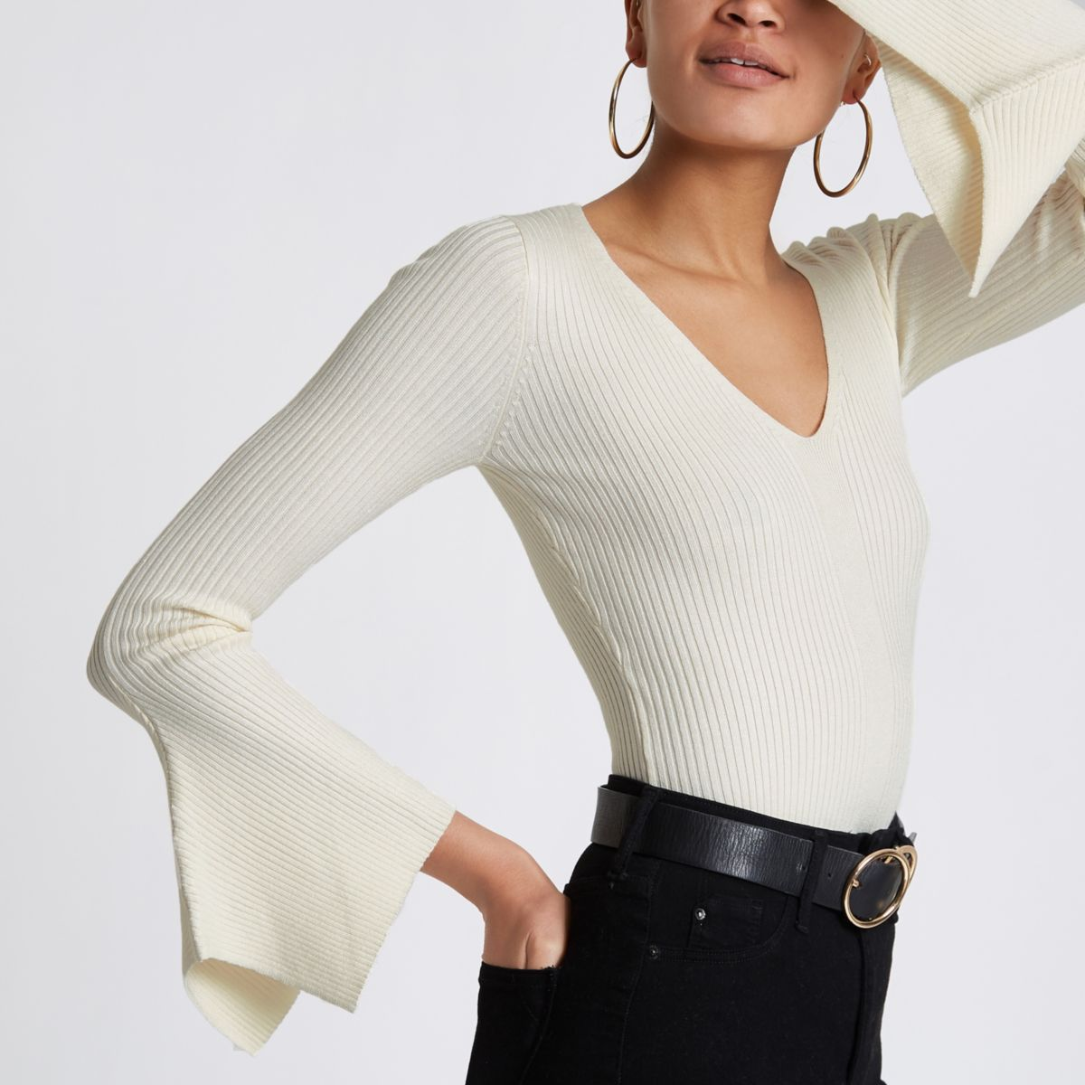 Cream knit rib flute sleeve V neck top