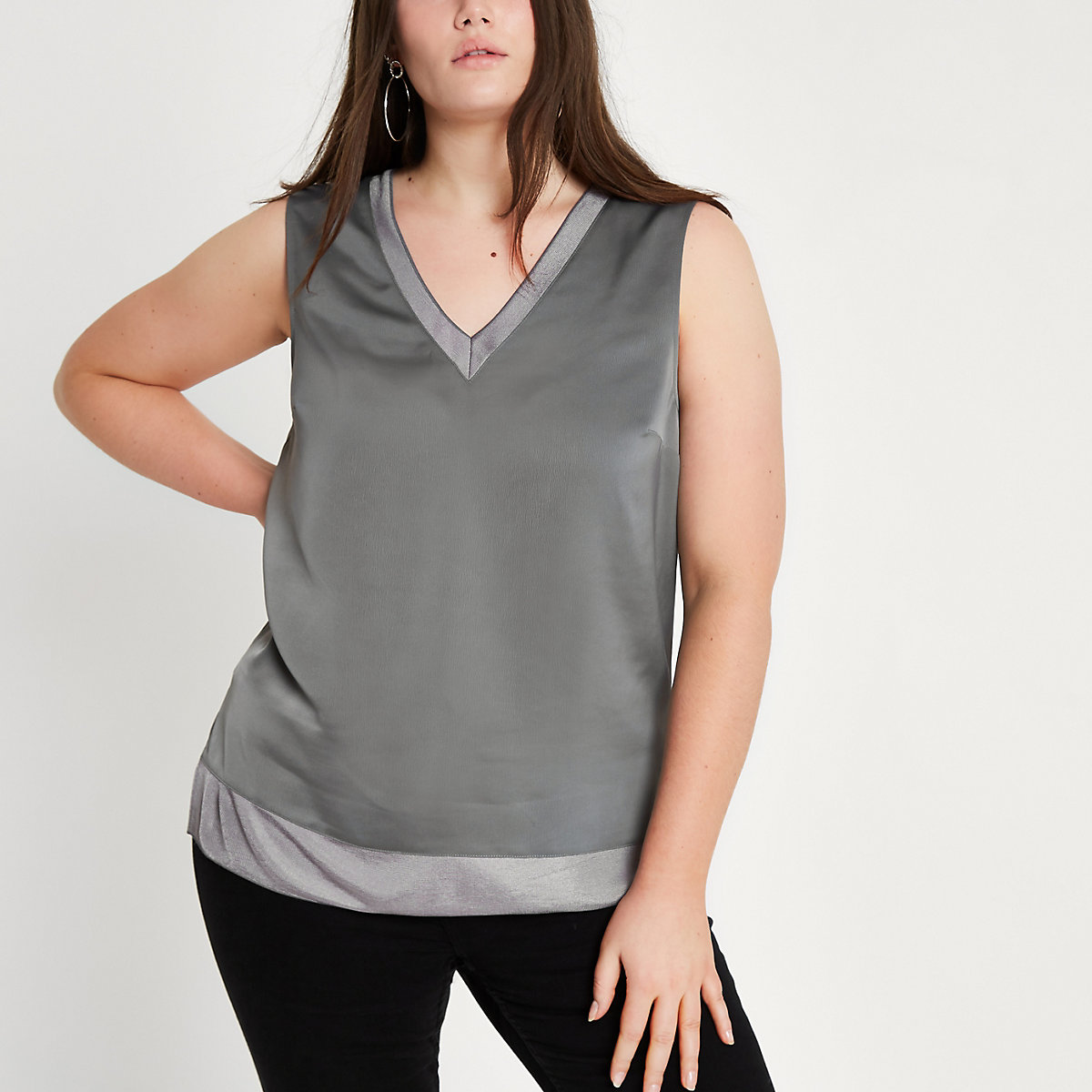 Plus dark grey V neck tank top