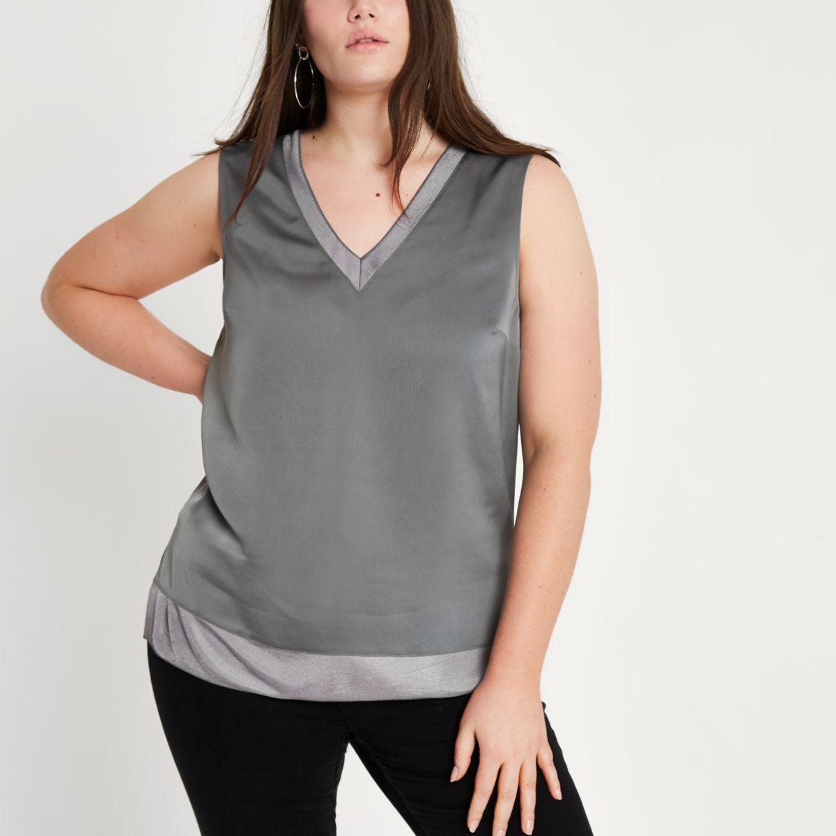 Plus dark grey V neck tank top