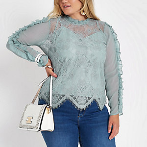 Plus blue lace high neck long sleeve top