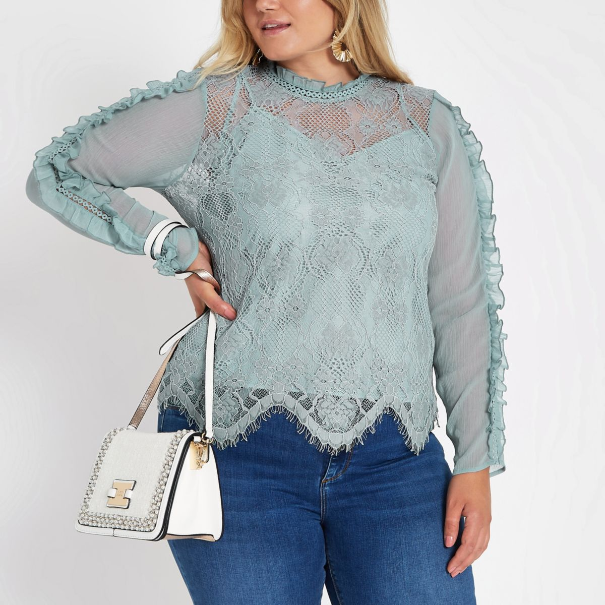 Plus blue lace high neck long sleeve top