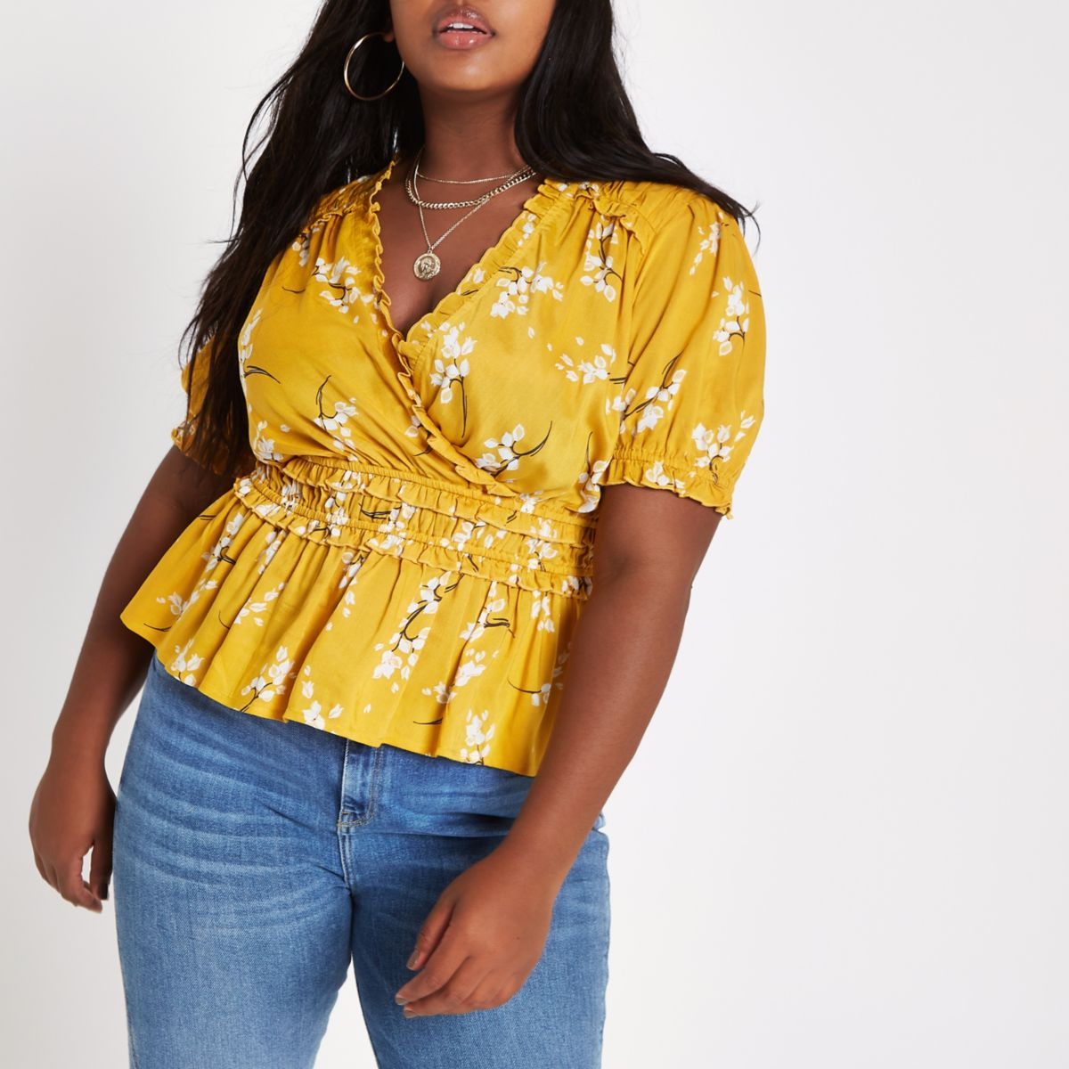 Plus yellow floral shirred wrap top