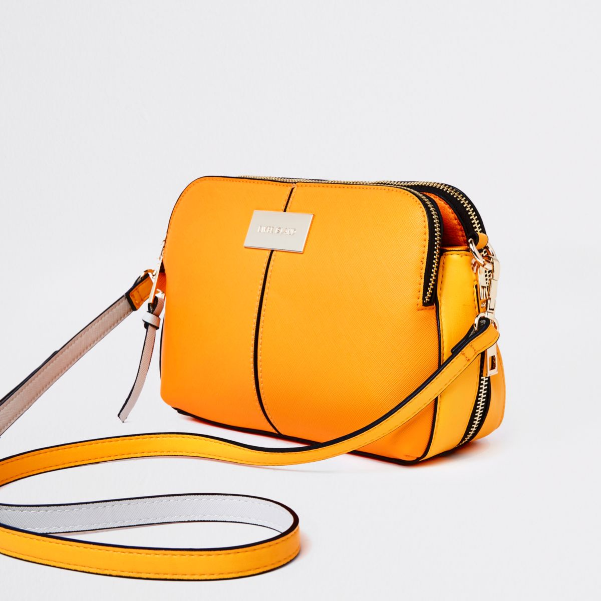 Orange triple compartment cross body bag