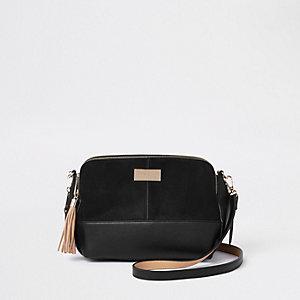 Zwarte grote crossbodytas met drie vakken