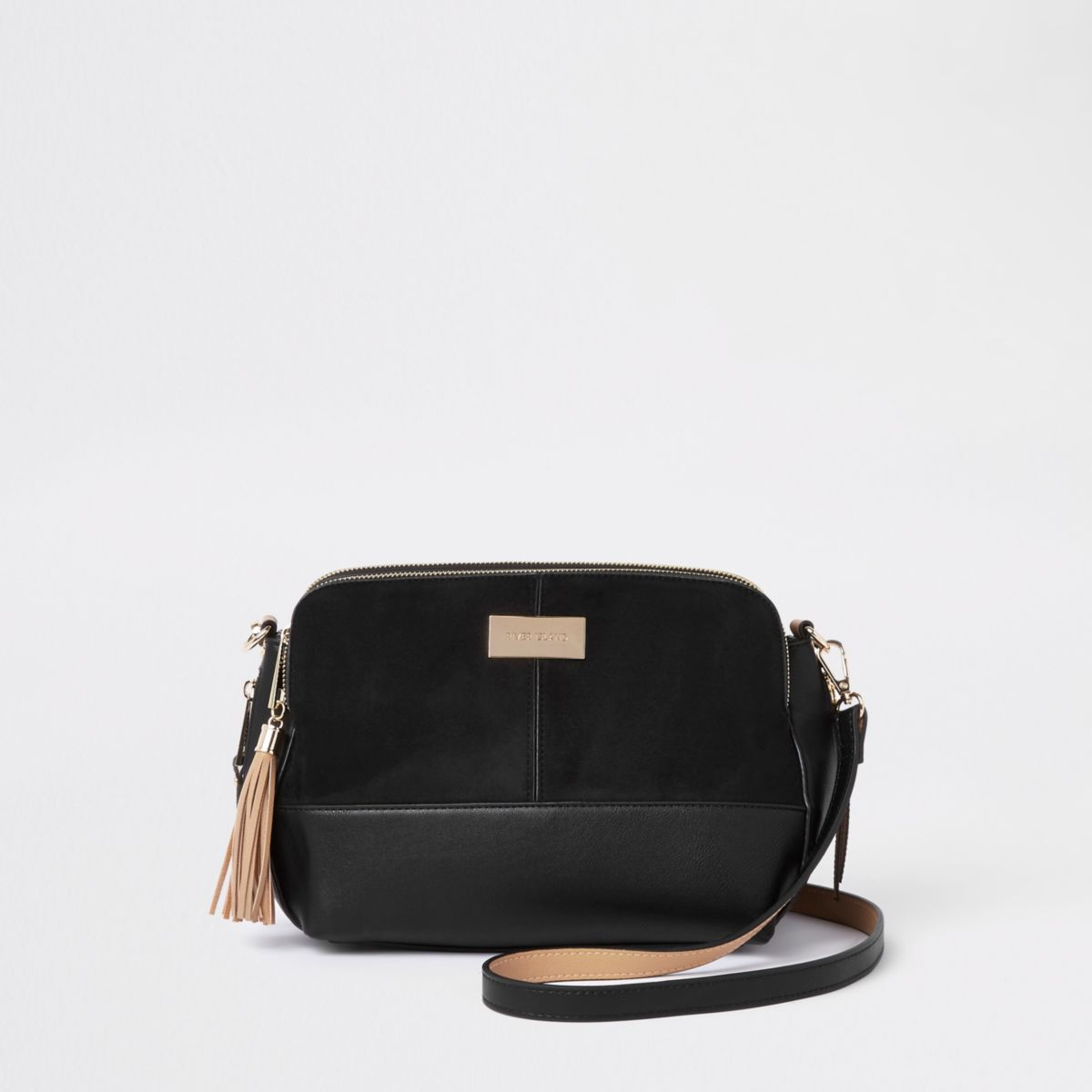 Black Triple Compartment Large Cross Body Bag by River Island