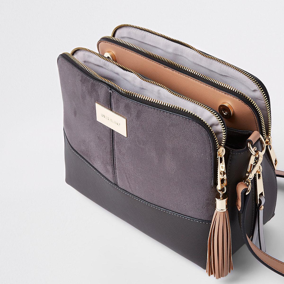 88b76e103856 Dark grey triple compartment cross body bag - Cross Body Bags - Bags ...