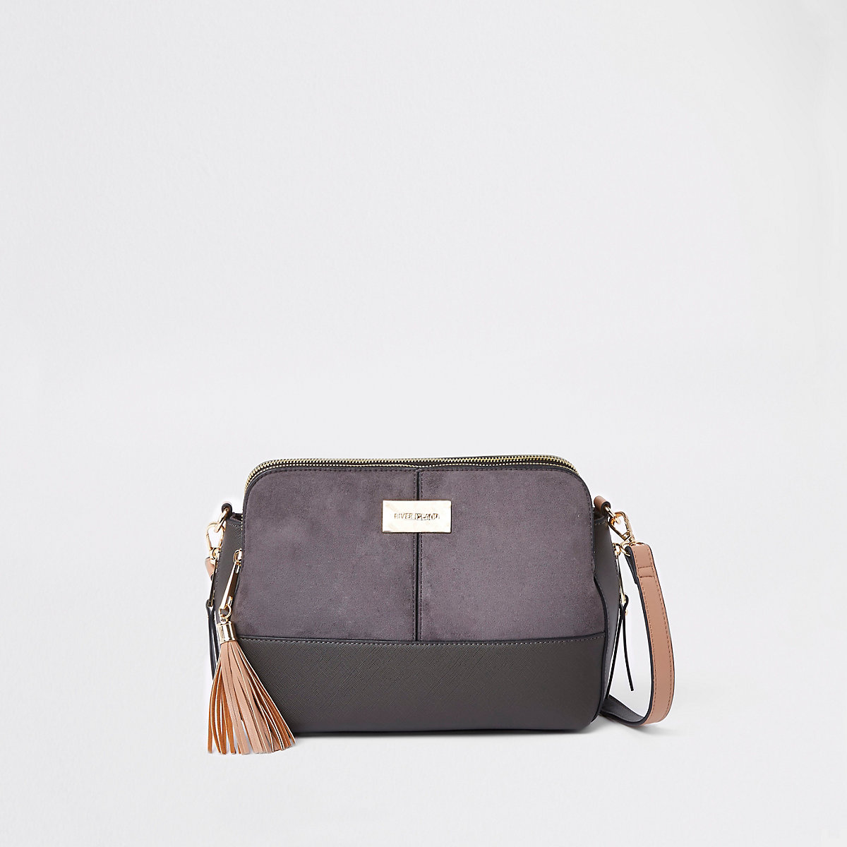 Dark grey triple compartment cross body bag