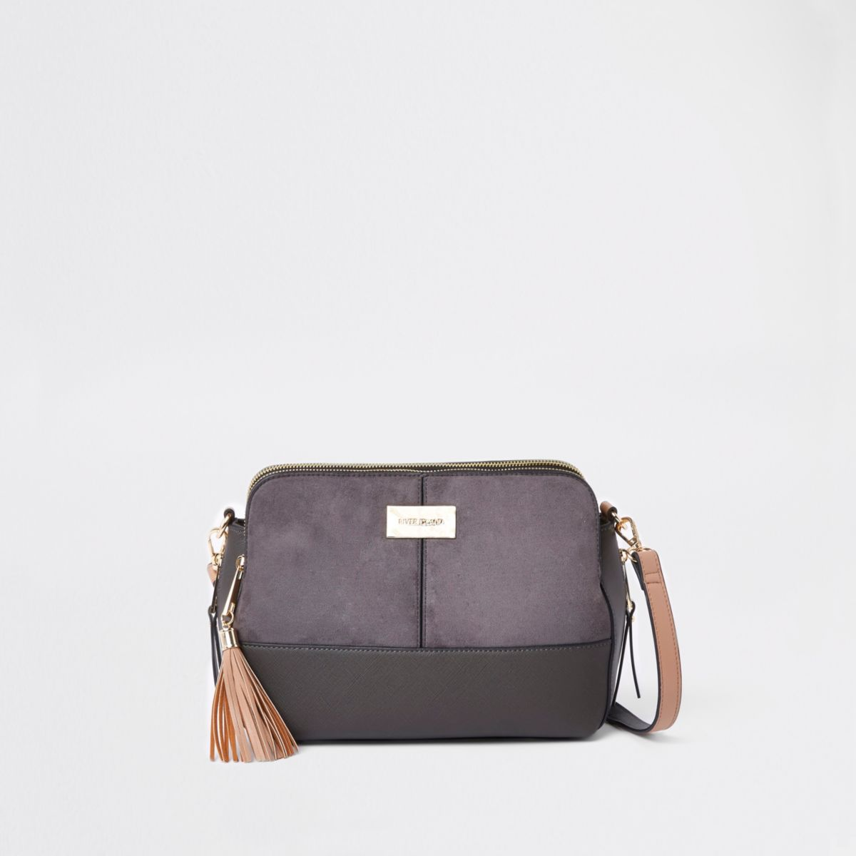 Dark grey triple compartment cross body bag