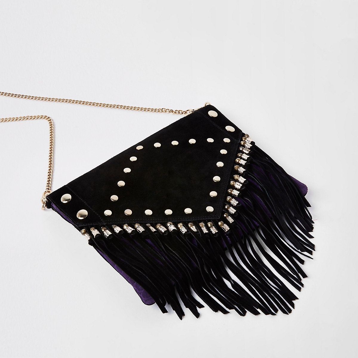 Black leather stud and tassel clutch bag