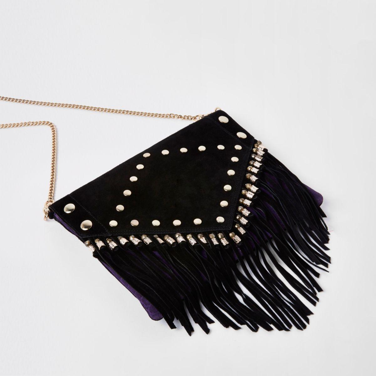 Black leather stud and tassel clutch bag