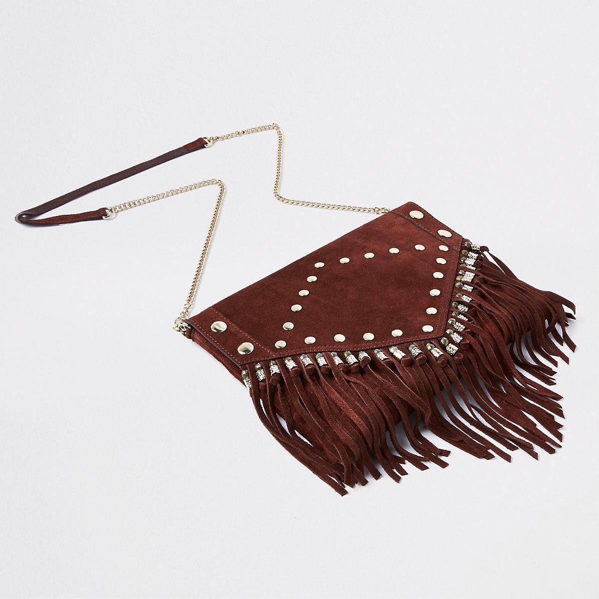 Red leather studded tassel clutch bag