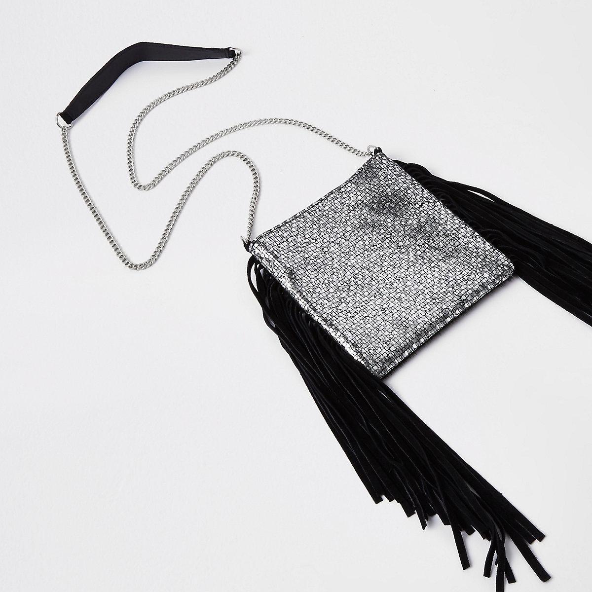 Black leather tassel mini cross body bag